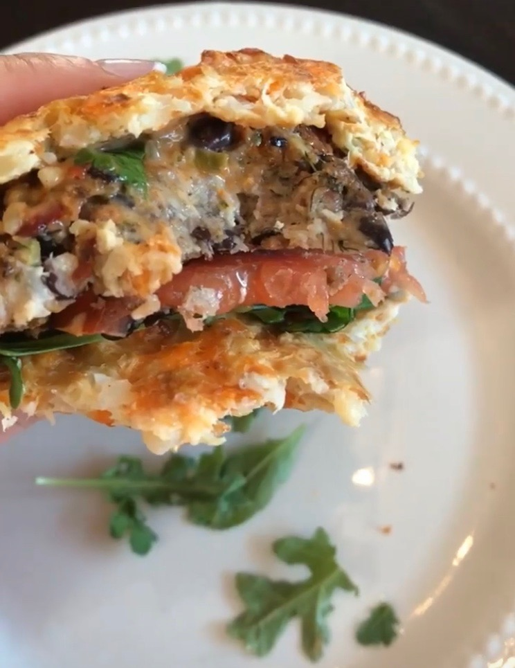 Greek Burger on a Cauli Bun - Enjoy!!