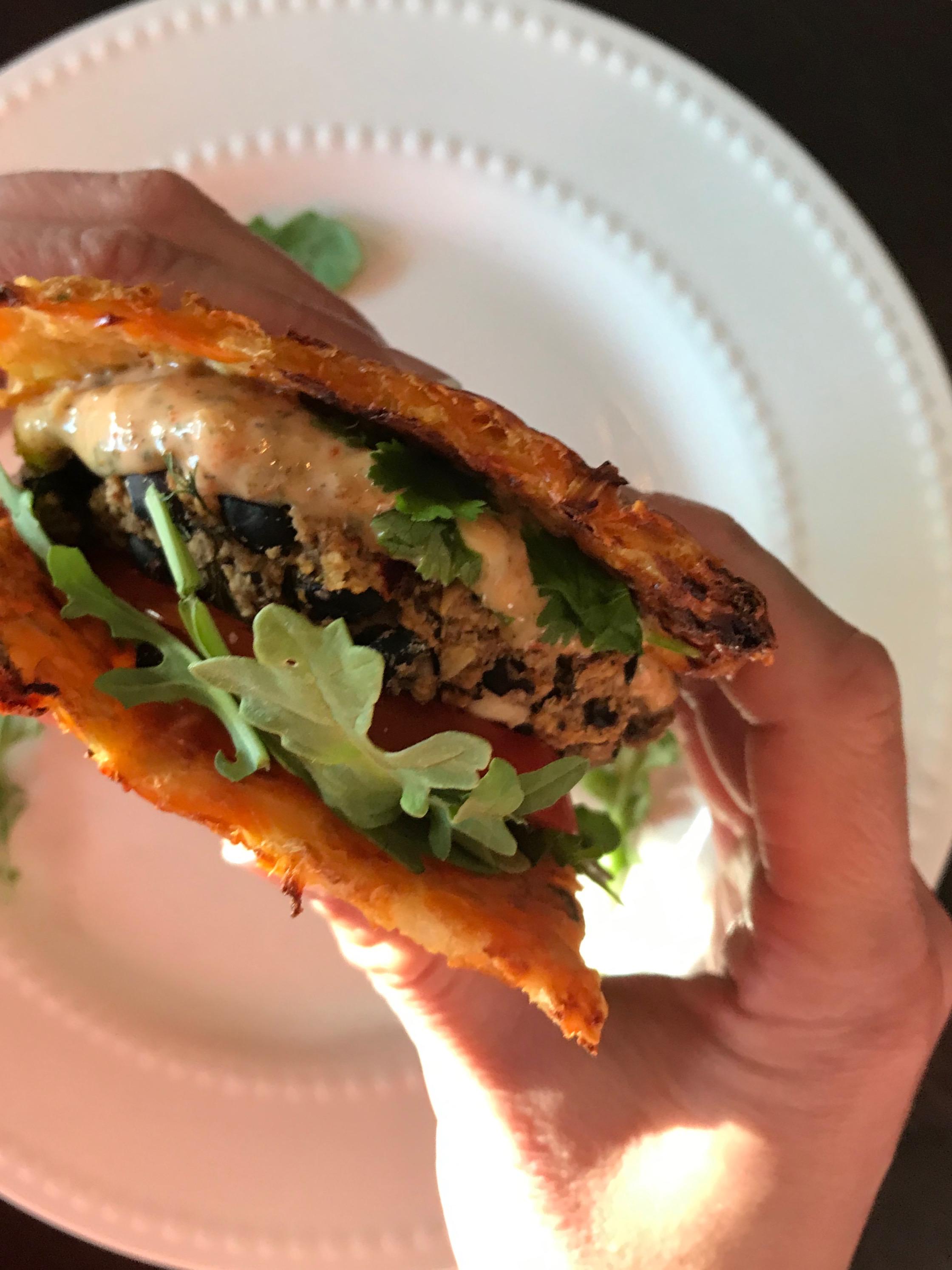 Greek Burger on a Cauli Bun
