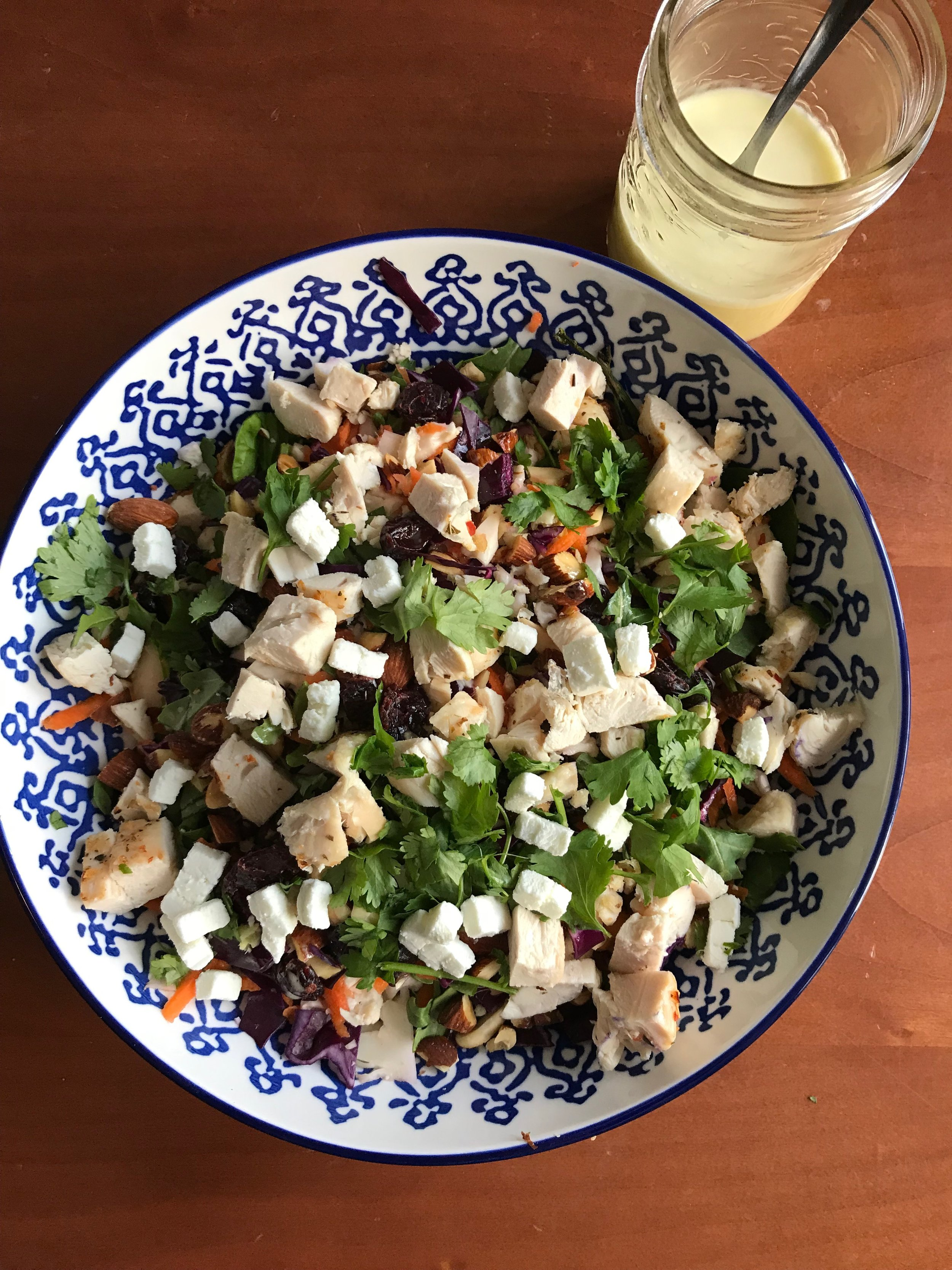 Apple & Almond Crunch Salad with Chicken and Goat Cheese Variation