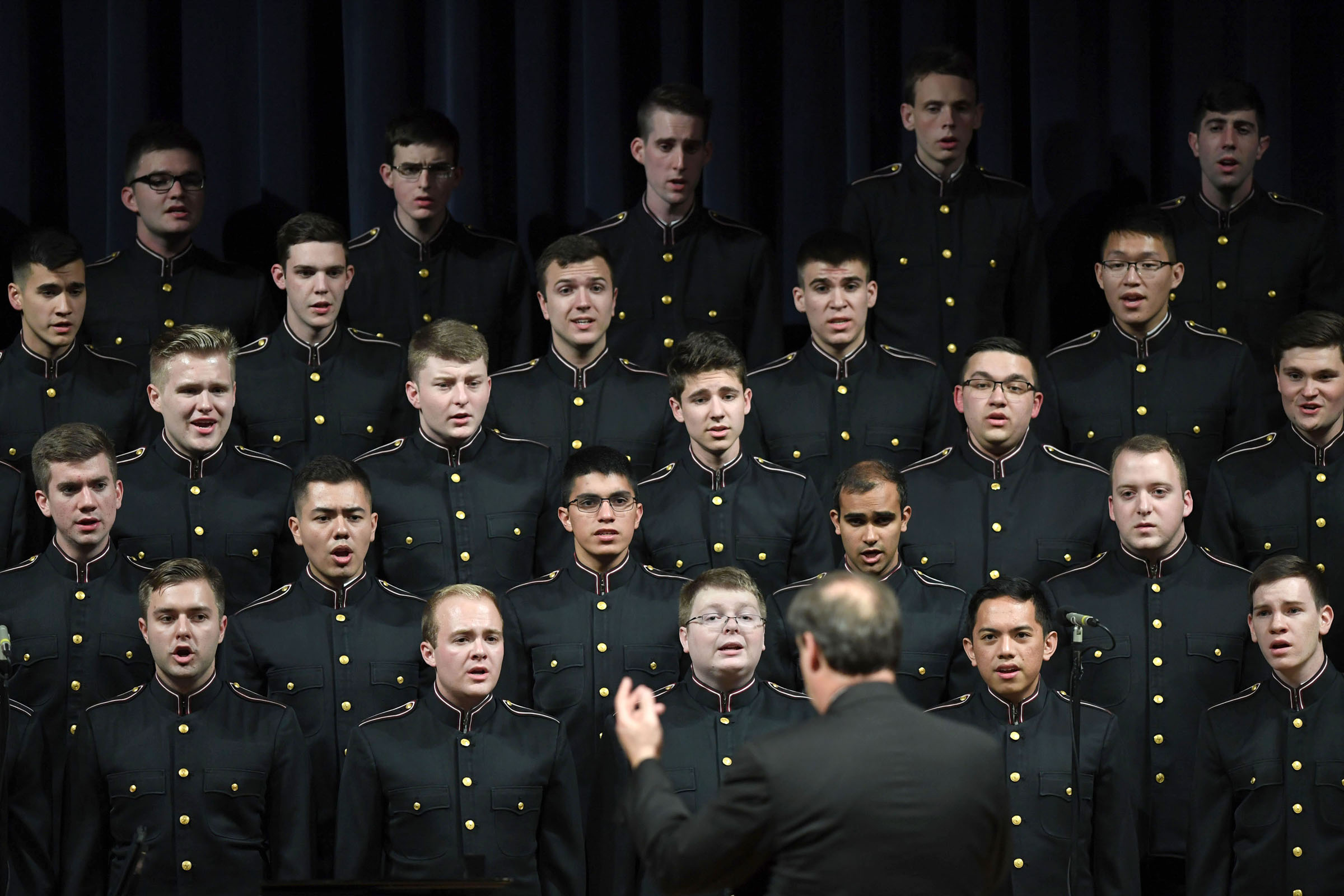 Texas A&M's Singing Cadets perform during a combined concert with the Women's Chorus, Harvard Glee Club and Radcliffe Choral Society at the Annenberg Presidential Conference Center on Jan. 23, 2019, in College Station, Texas. (Laura McKenzie/The Eagle)
