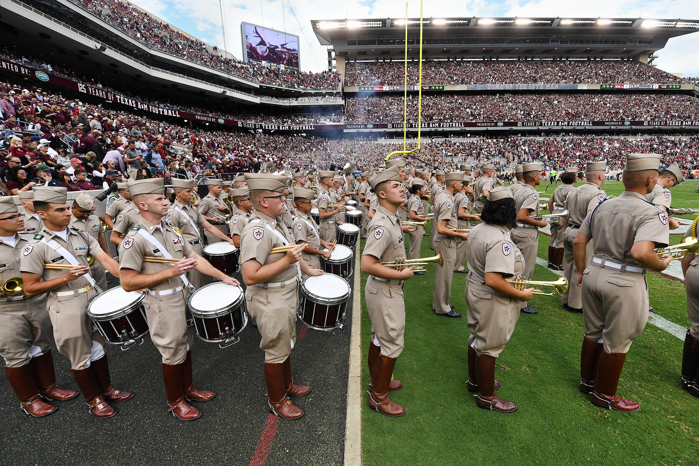 Members of the Fightin' Texas Aggie Band prepare to take the field for their halftime performance during an NCAA football game between Texas A&M and Alabama at Kyle Field on Saturday, Oct. 12, 2019, in College Station, Texas. (Laura McKenzie/The Eagle)