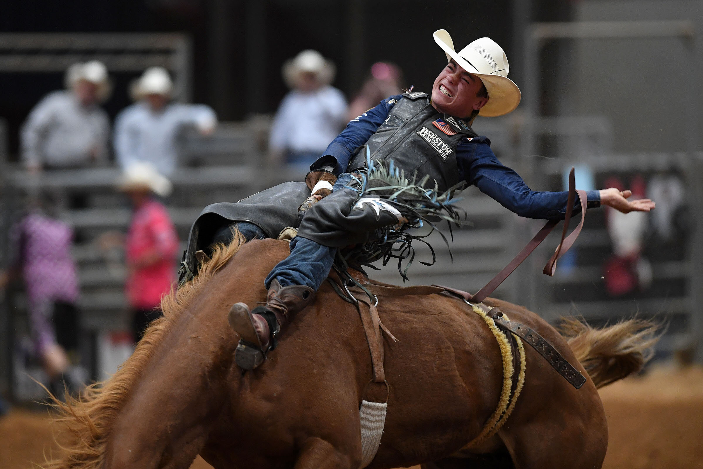 Bradlee Miller competes in the bareback riding event during the Brazos Valley Fair and Rodeo Saturday, Oct. 19, 2019, at the Brazos County Expo in Bryan, Texas. (Laura McKenzie/The Eagle)