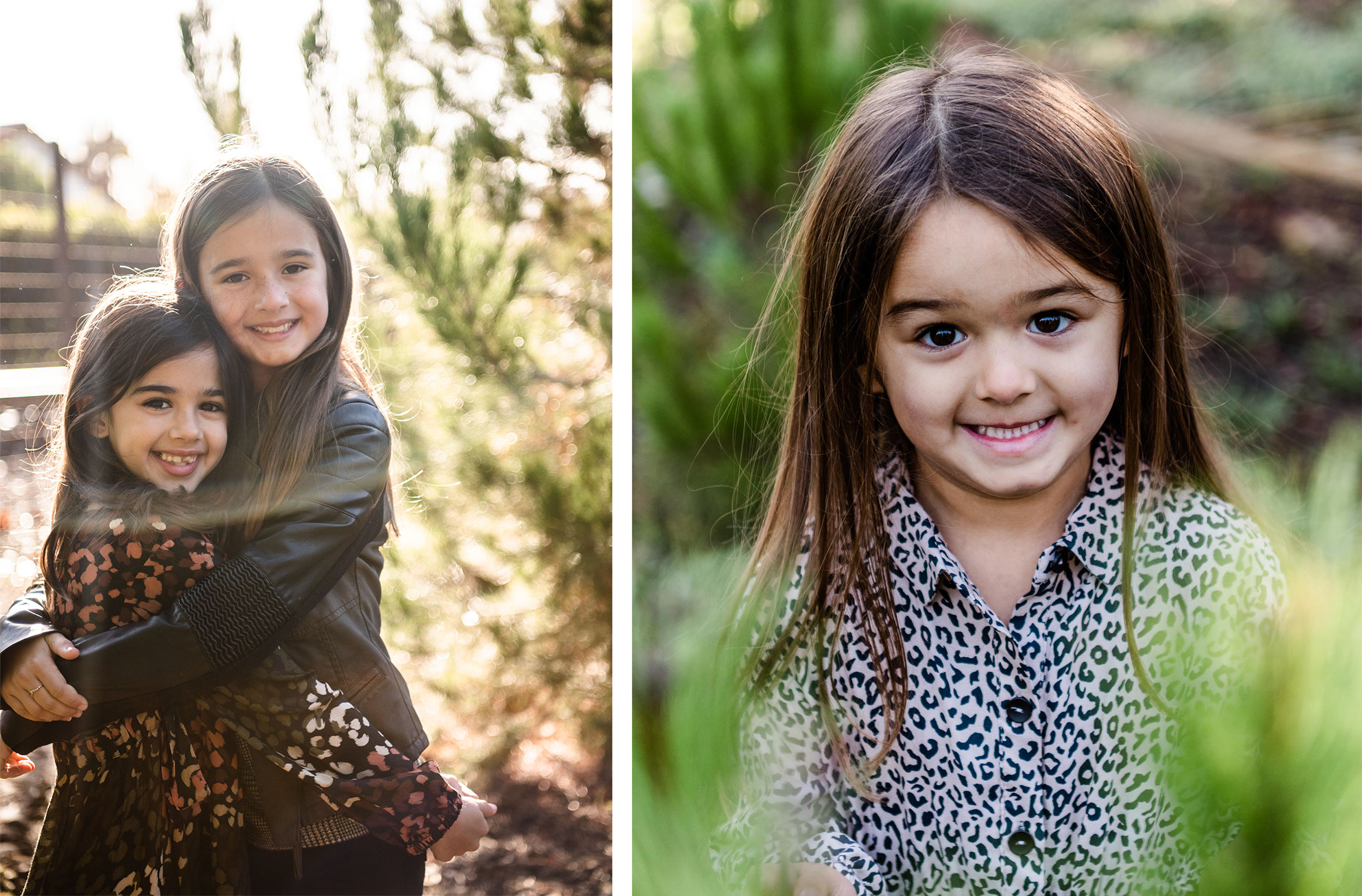 Lisa Hu Chen orange county family photographer dark haired young sisters hugging with sun flare young girl smiling in front of tree in san juan capistrano #jacksforest