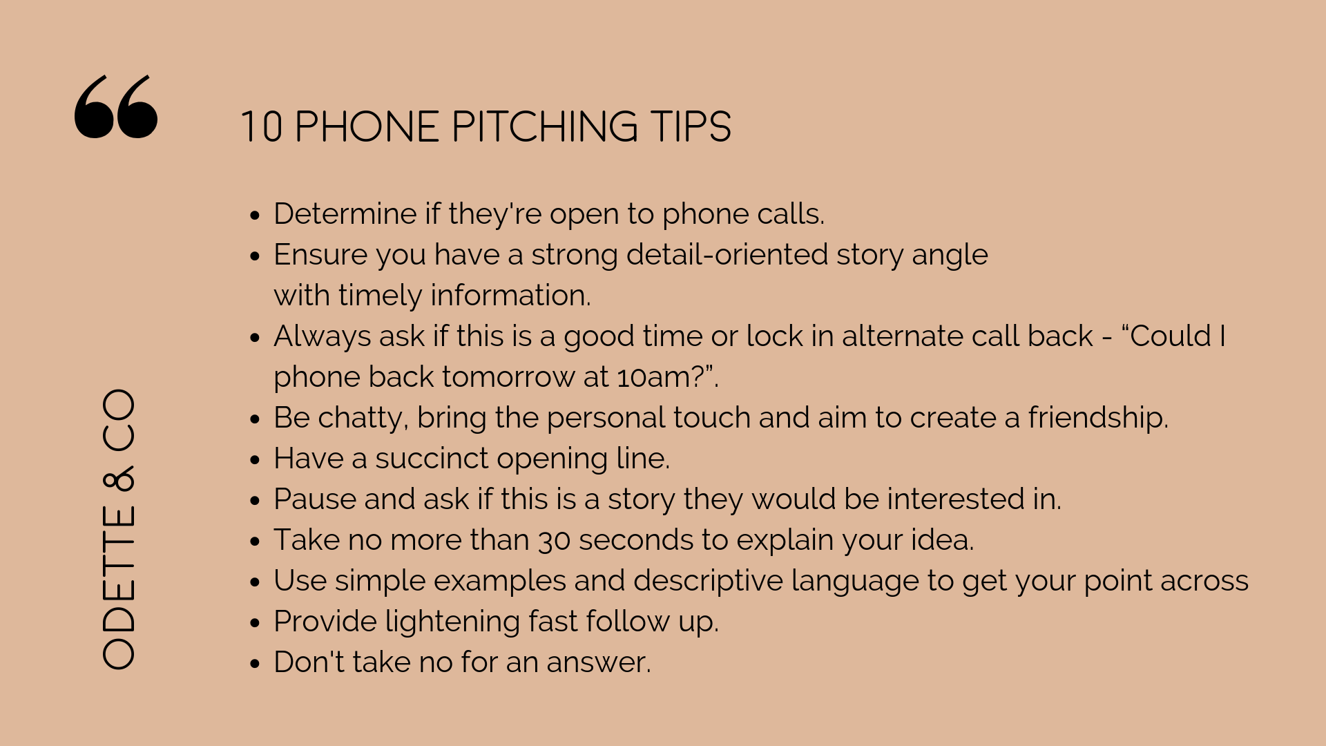 tips for phone pitching