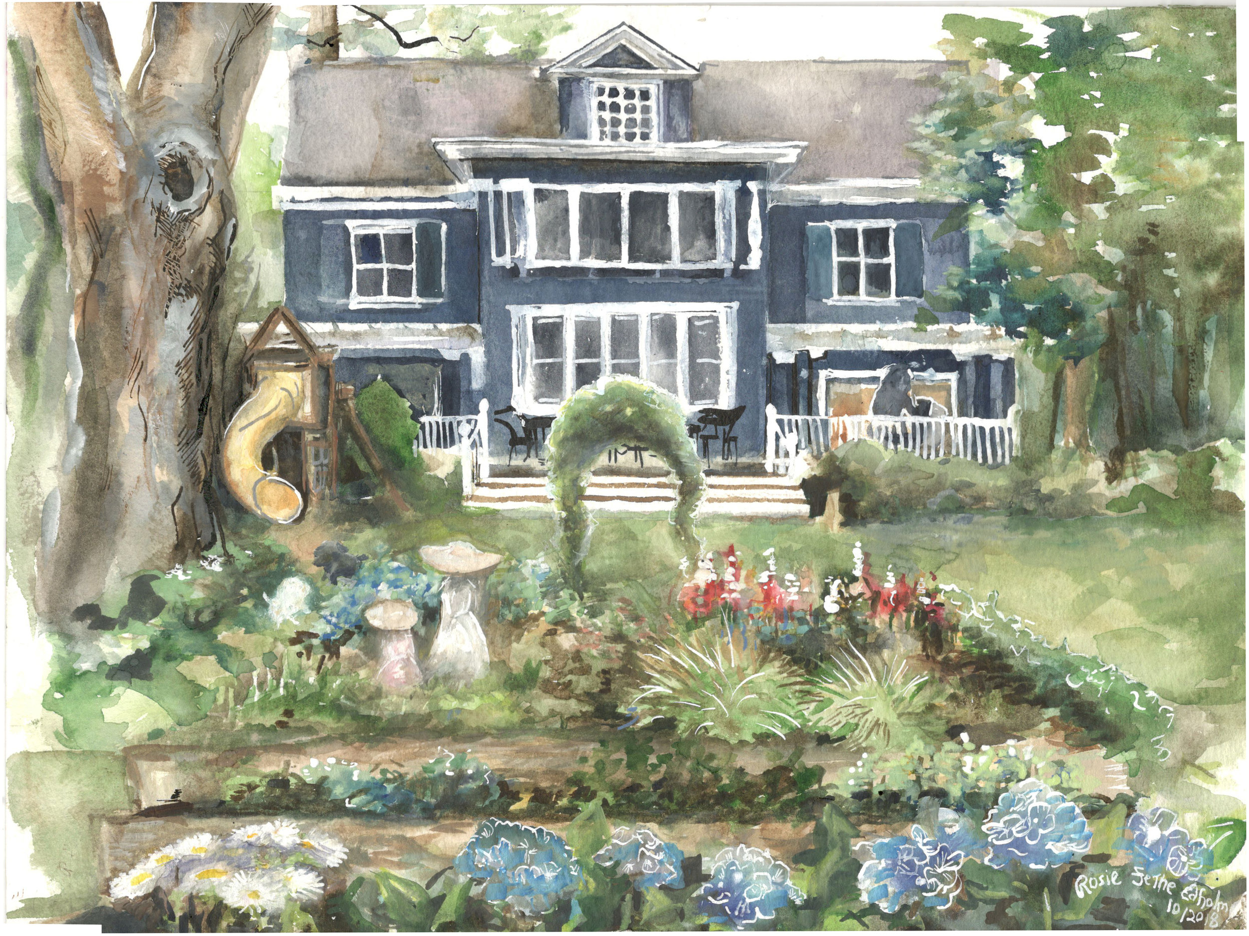 - This watercolor of a family home measures 9 by 12'. I worked from photos of the family's house, then added the figures and extra flowers in the garden.