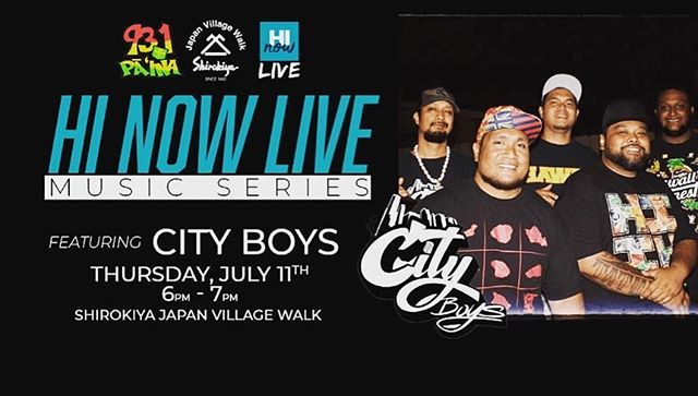 Come check us out this Thursday @shirokiyajvw for the HI NOW LIVE Music series  brought to you by @931dapaina Music from 6-7pm So bring the faMs for some awesome food & ONO acoustic jams🤙🏽 • • #cityboys #931dapaina #oahu #honolulu #shirokiya #hinowlivemusicseries #acoustic #island #reggae #fun #family #music #live #love #serve #appreciate