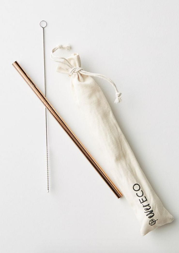 reusable straw - Encourage the reduction of plastic consumption with this rose gold eco straw.