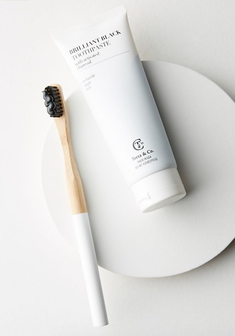 toothbrush/ toothpaste - Gift the gift of sustainable oral care. This set is ethically made, free of bad stuff like fluoride and peroxides, and is vegan and cruelty free.