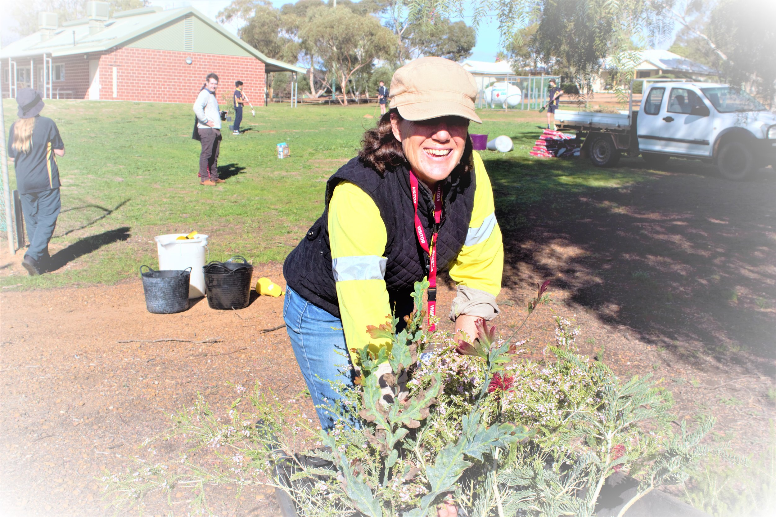 Antoinette Vincent from Esperance Farms Trees with some of the native trees to go into the ground at Ravensthorpe School