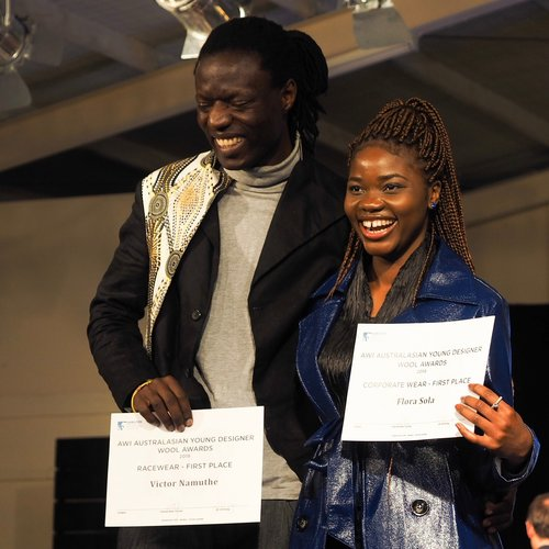 RMIT students Victor Namuthe and Flora Sola both taking first place in their categories