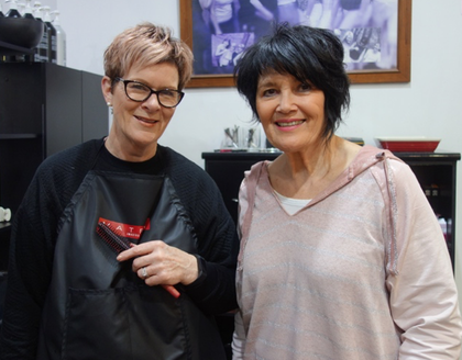 Left-handed hairdressers from  Hakkas  salon: Sue (left) and Toni (right)