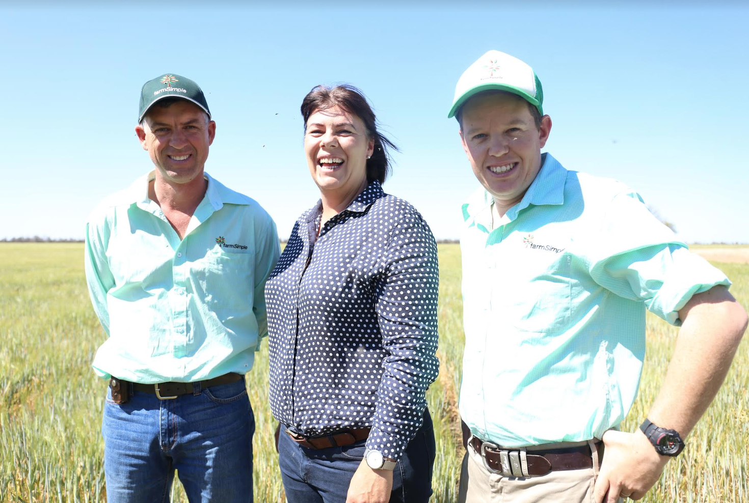 farmSimple's Lee Coleman and Matt Higham with, at centre, IntellectAg's Brooke Sauer, organiser of the Founders to Field Tour.