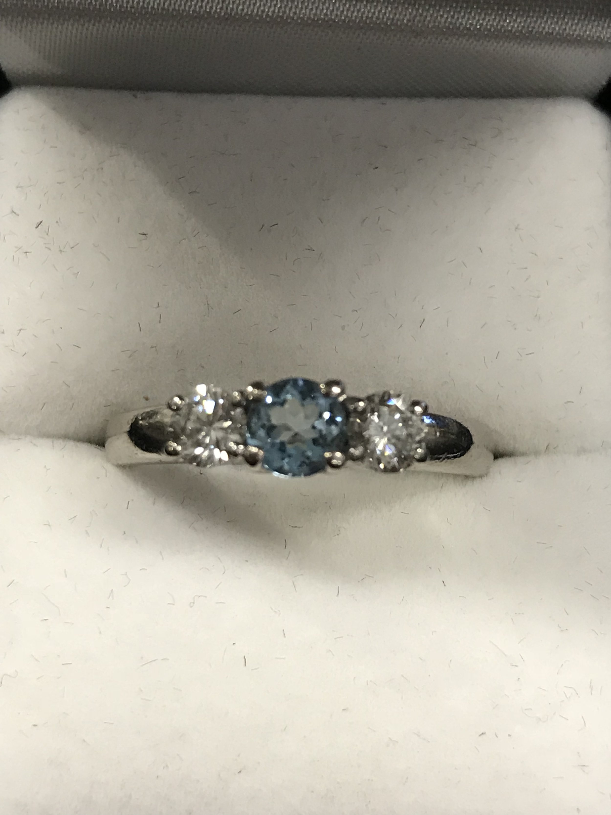 Aquamarine & Diamond pladium Ring