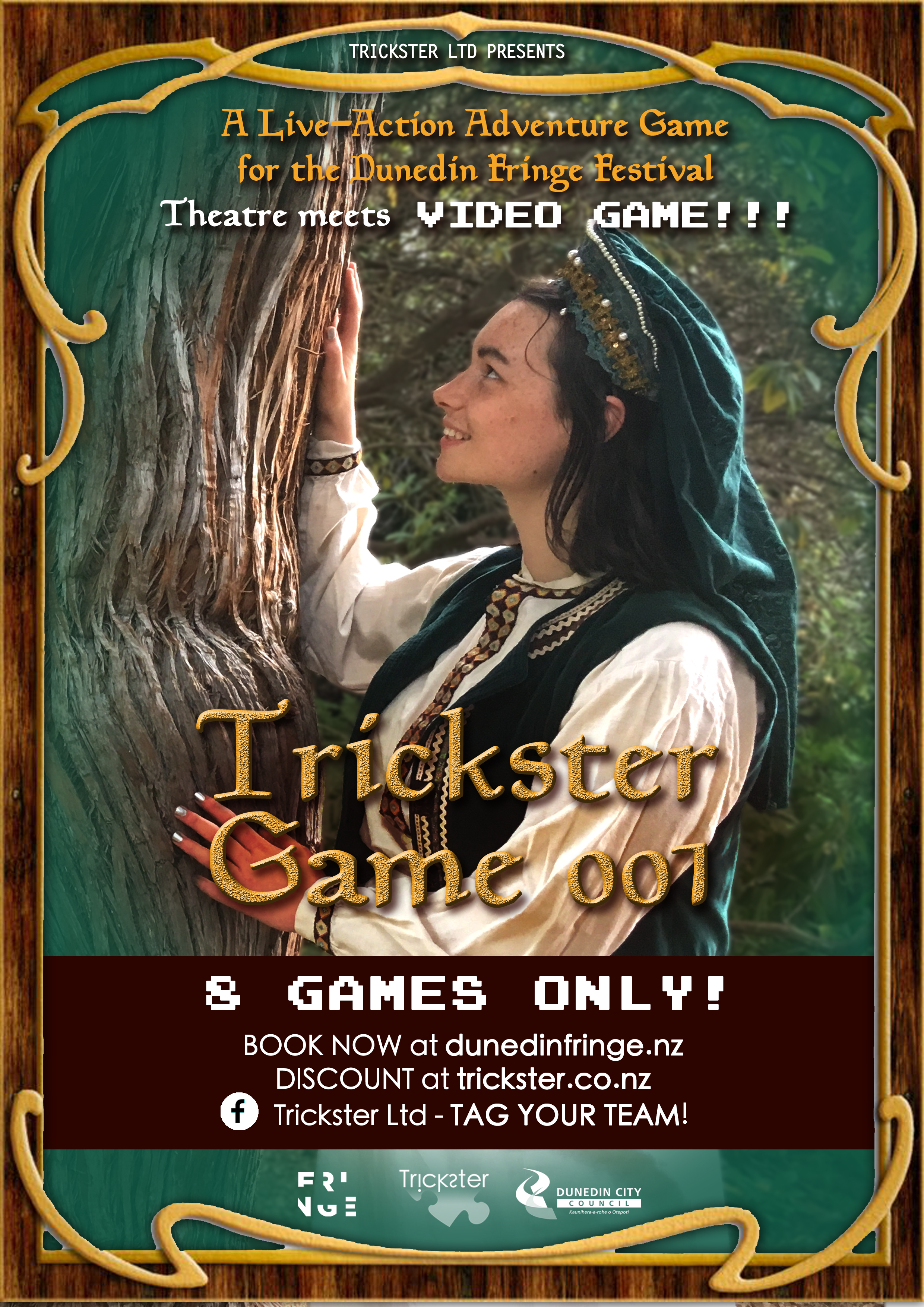 Just finished: Trickster Game 001 - GATHER YOUR TEAM FOR AN INTERACTIVE LIVE-ACTION ADVENTURE THROUGH THE MAZE-LIKE FORESTED PATHS OF THE UPPER DUNEDIN BOTANIC GARDEN.