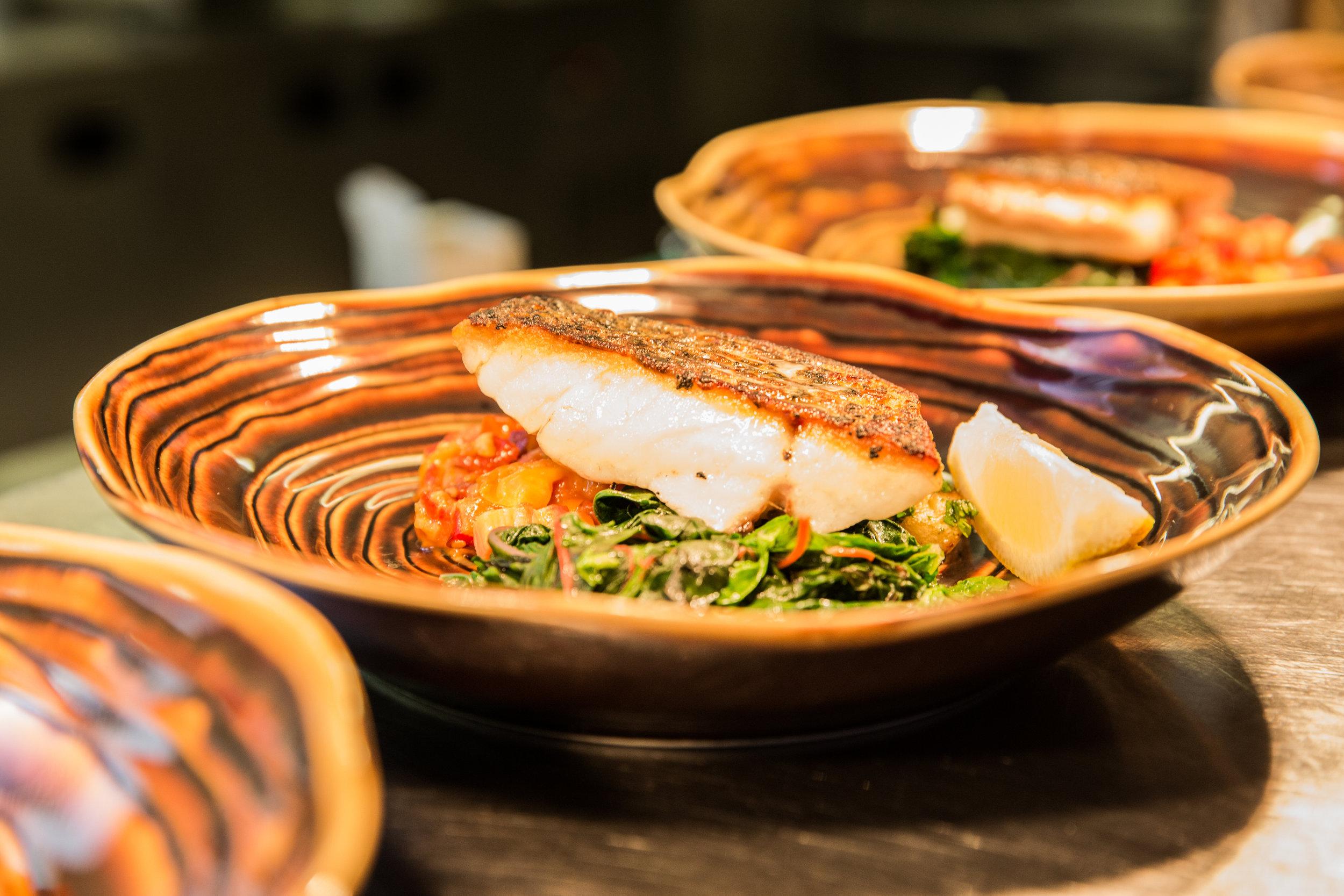 Food prepared at White Star Tavern Skills Workshop - Bass with roasted tomato stew.jpg