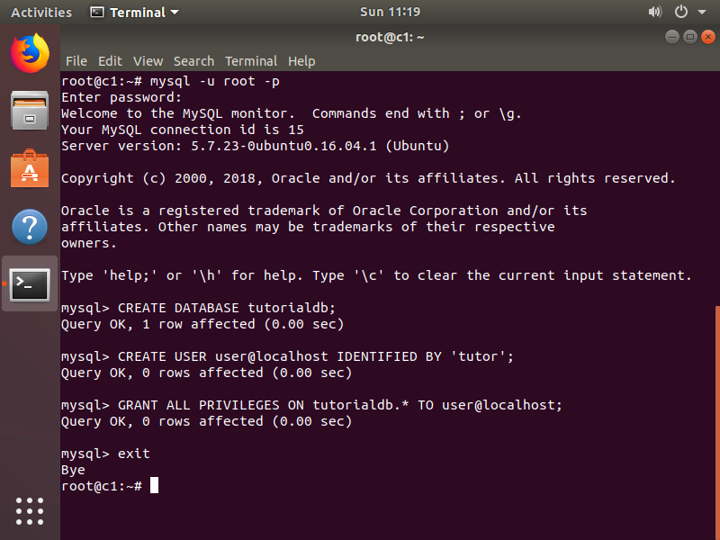 Step 11. Create the database 'tutorialdb' and the user 'root'.
