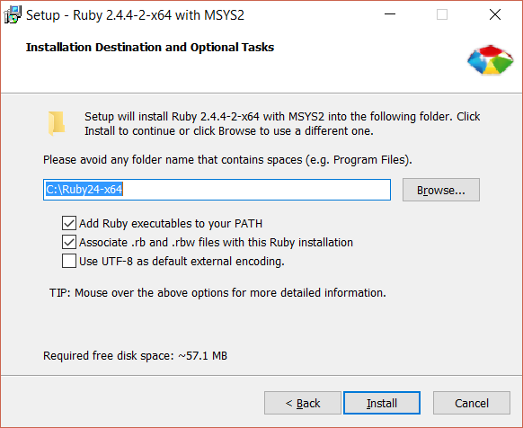 """To use Jekyll, you must have an existing installation Ruby on your system. The installation package I chose was Ruby+Devkit 2.4.4-2 (x64). Ensure that the """"Add Ruby executables to your PATH"""" option is checked."""