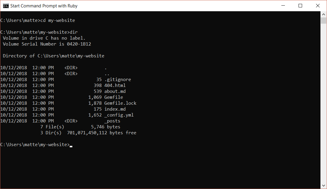 Enter the directory Jekyll generated through the command prompt and list the contents of that directory to verify that everything was created correctly.