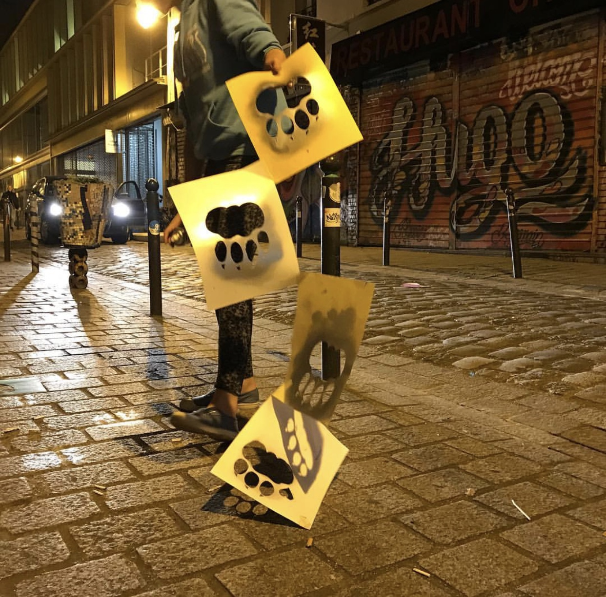 Stencils for Himmy's paw prints flying through the streets of Paris. Summer 2017
