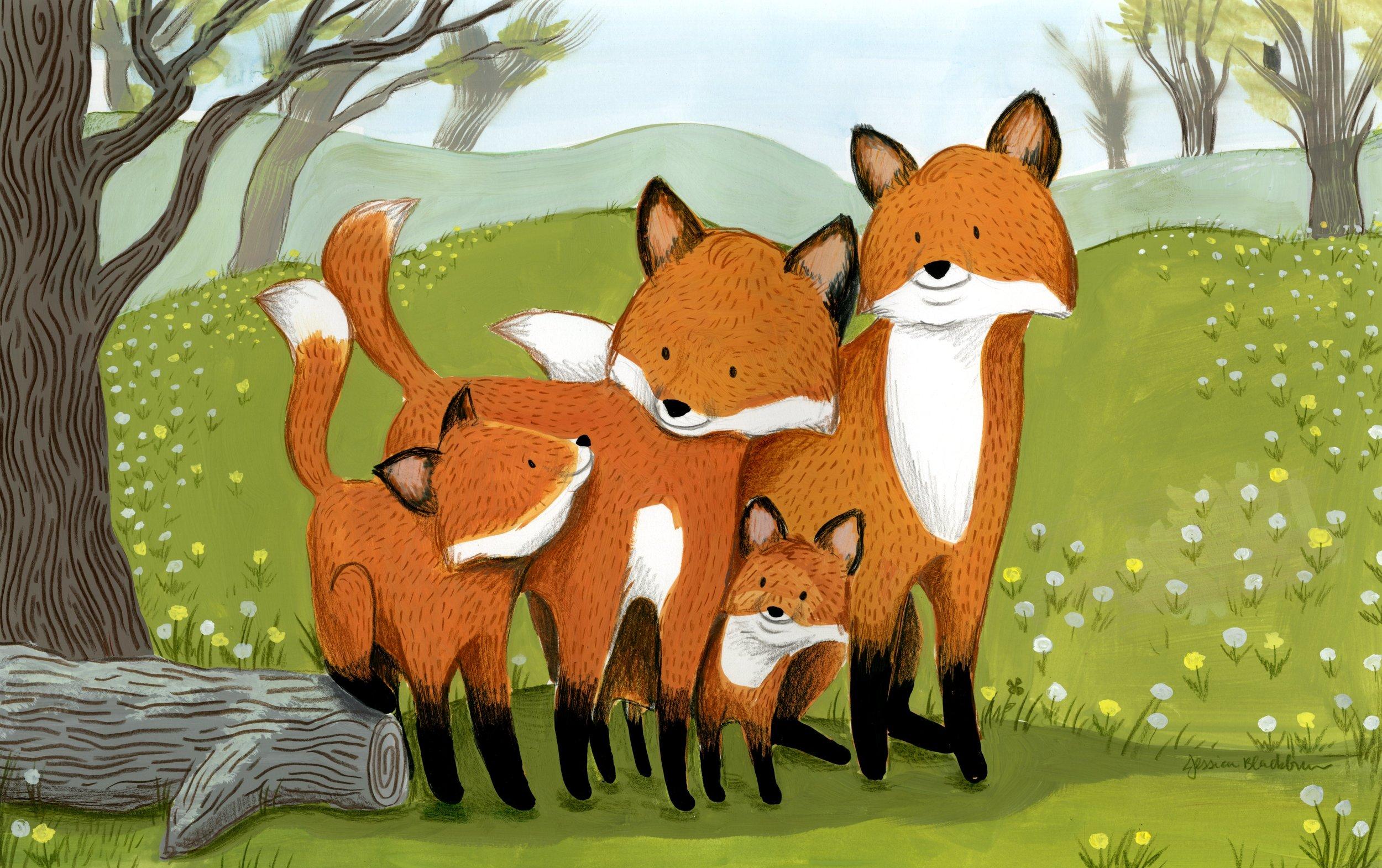 Fox Family of Four