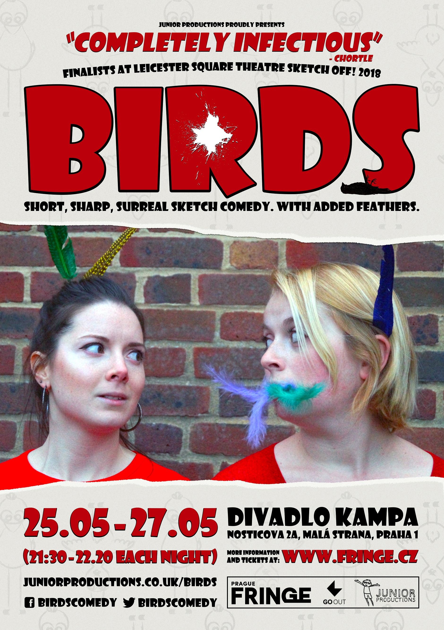 "Official Prague Fringe poster for 2018 debut ""Birds"""