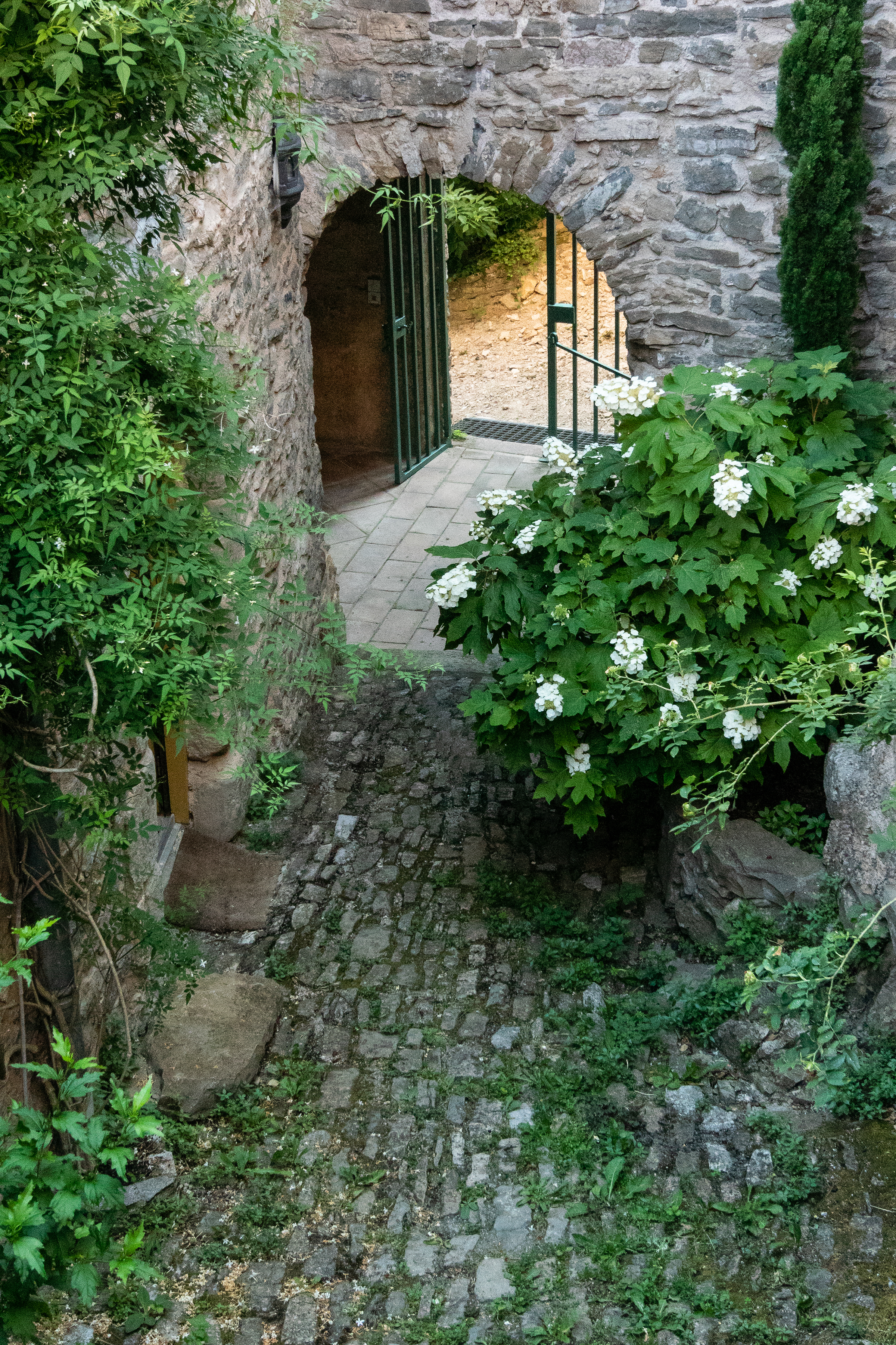 The medieval interior courtyard of the retreat's house is magical
