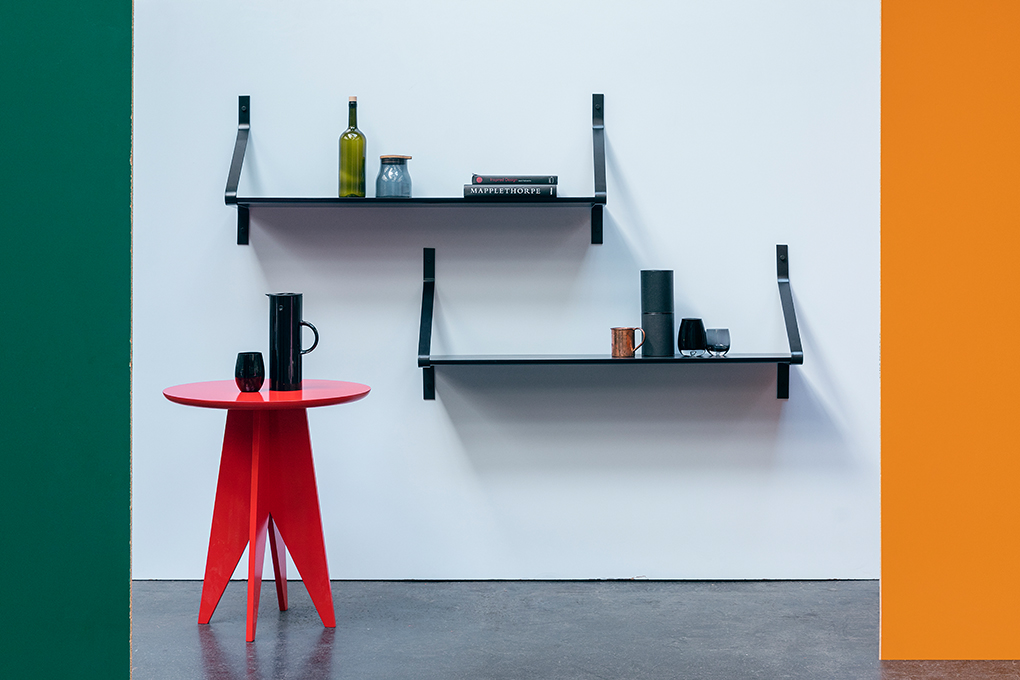 OFH_furniture_Ribbon shelving system and Stack tabel in lacquered ash.jpg