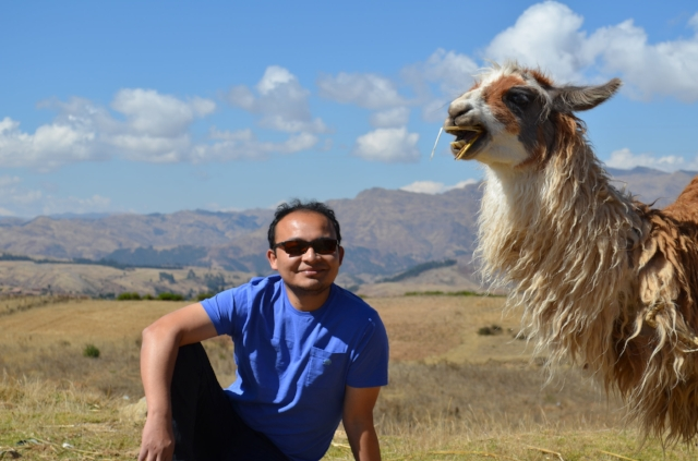 Man with Llama--Cute -