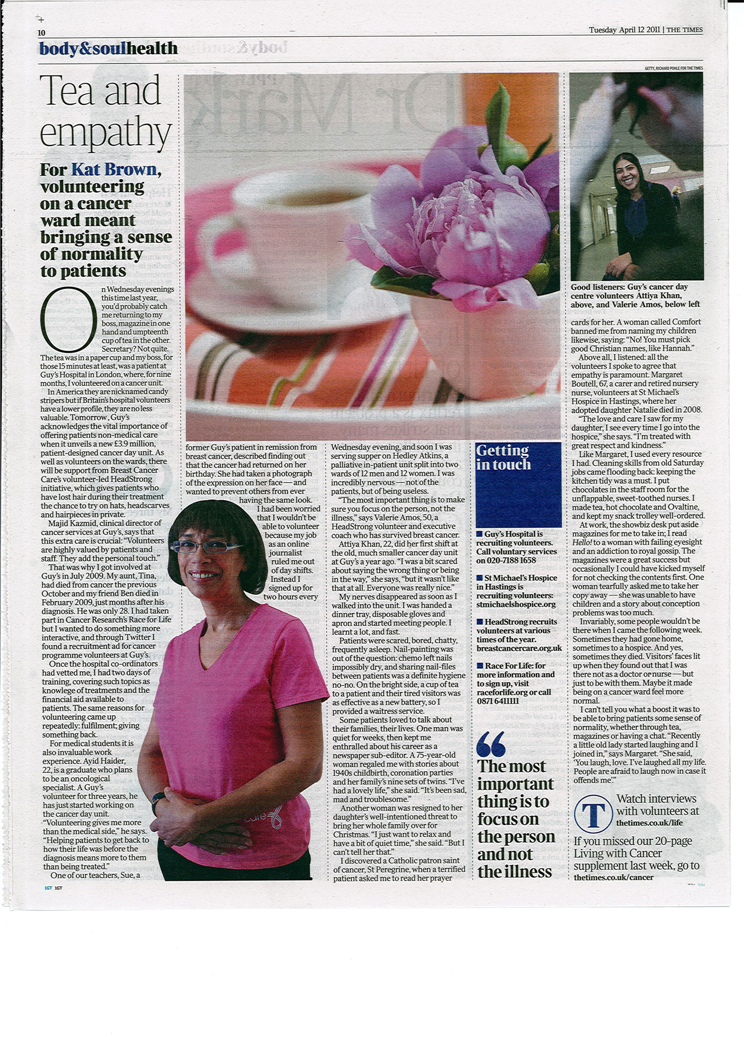 Tea and empathy on the cancer ward - The Times