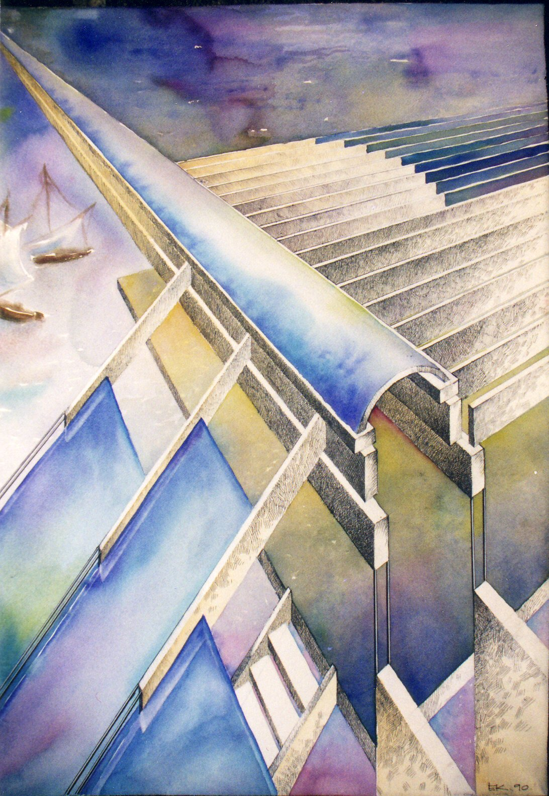 "The Endless Skylight, 25""x35"", watercolor and ink on paper from the Architectural Etudes Series"