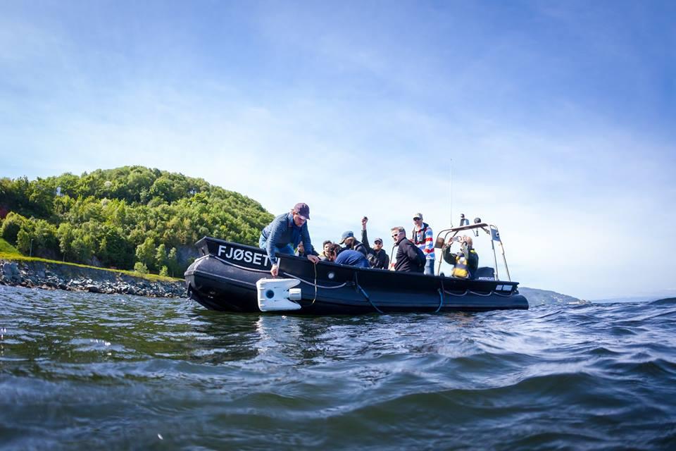 The Blueye Robotic's Pioneer underwater drone lowered into the ocean.