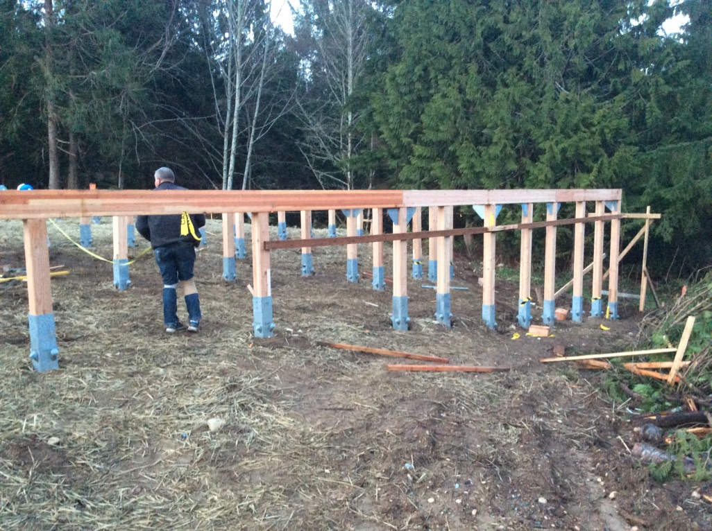 …while stanchions with posts are cut to level in sloped areas