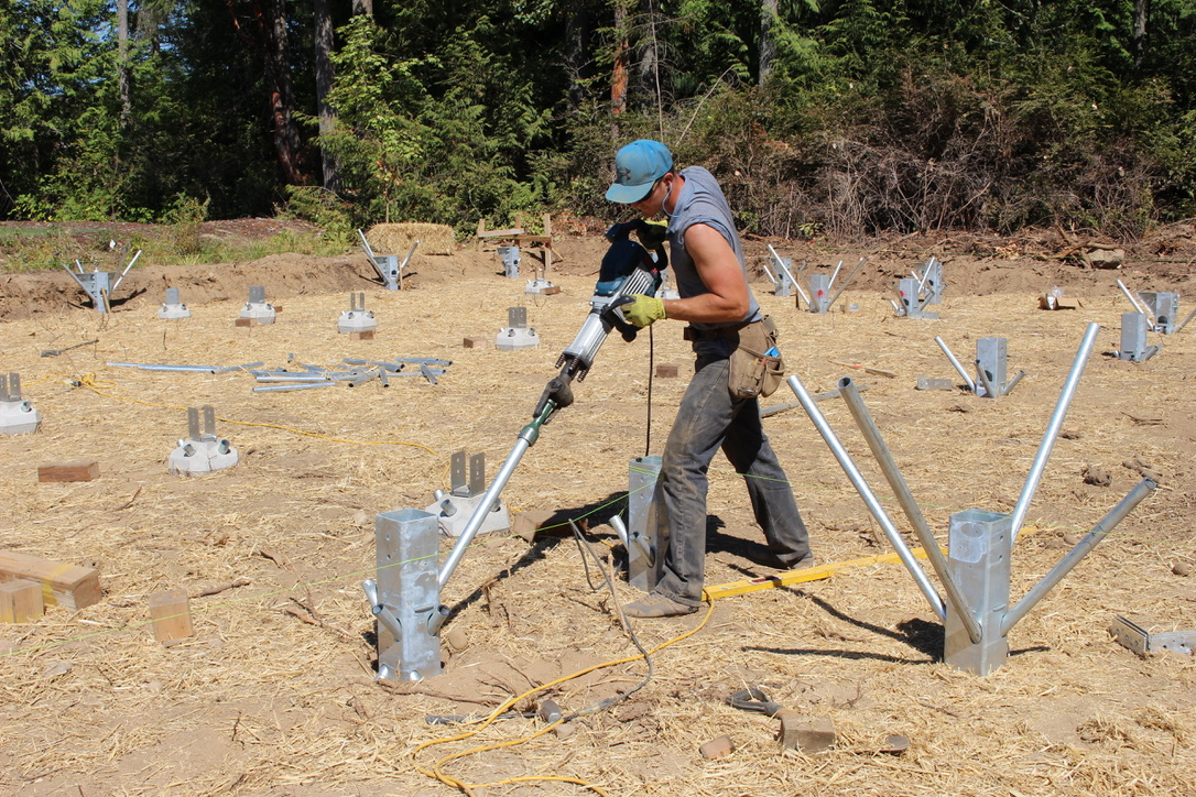 Foundation Frame stanchions can be installed with standard electric jack hammers
