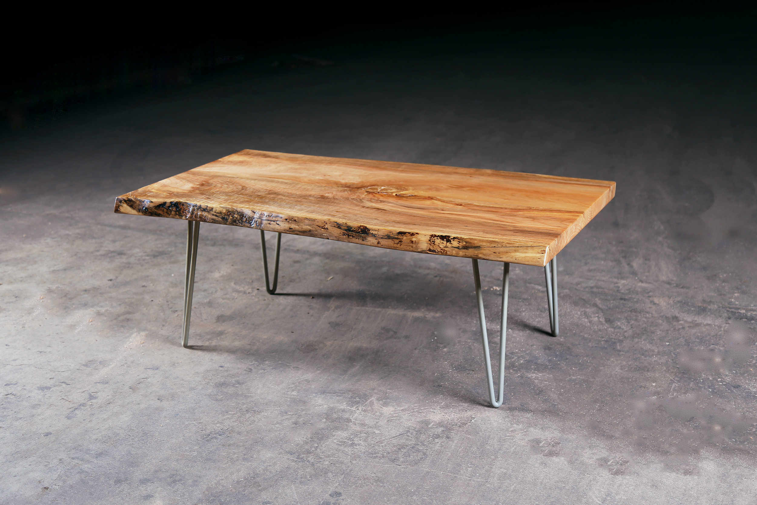 Live Edge Maple Coffee Table W Hairpin