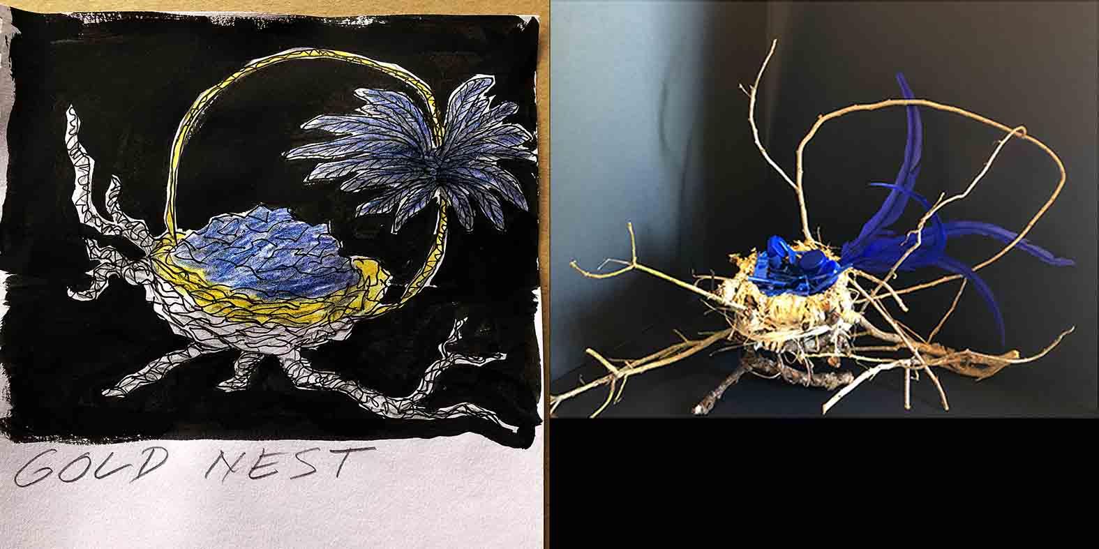 Gold Nest illustration and mock up design