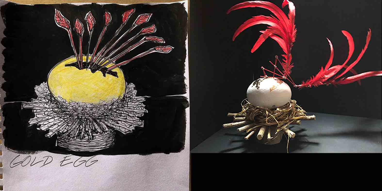 Gold Egg illustration and mock up design