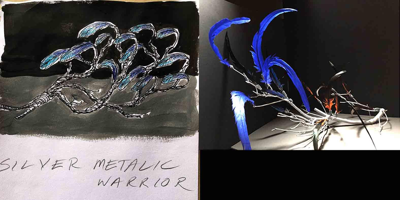 Silver Warrior Branch illustration and mock up design