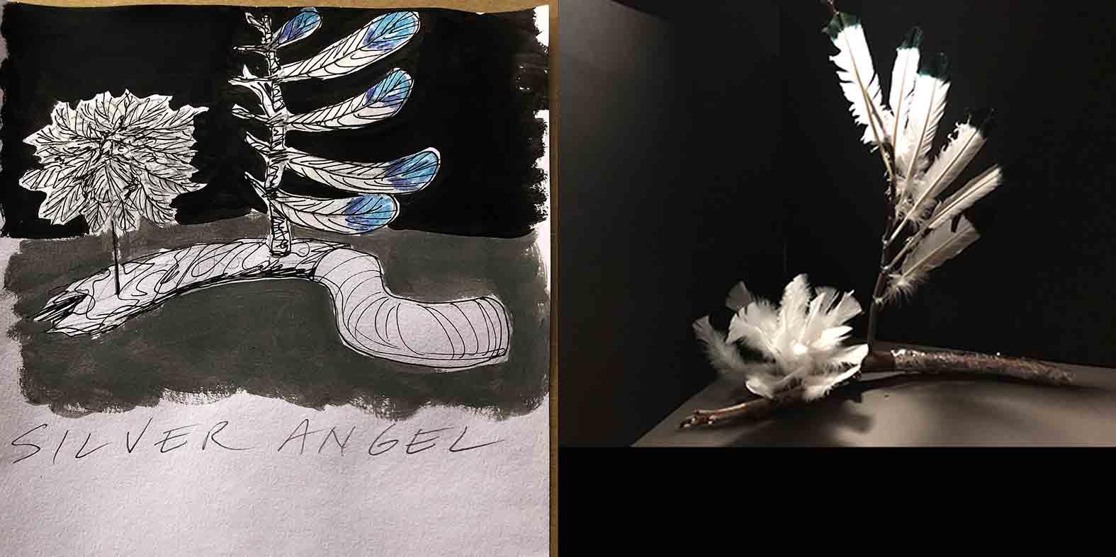 Silver Angel Wing illustration and mock up design