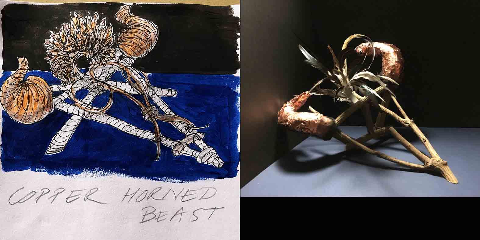 Copper Horned Beast illustration and mock up design