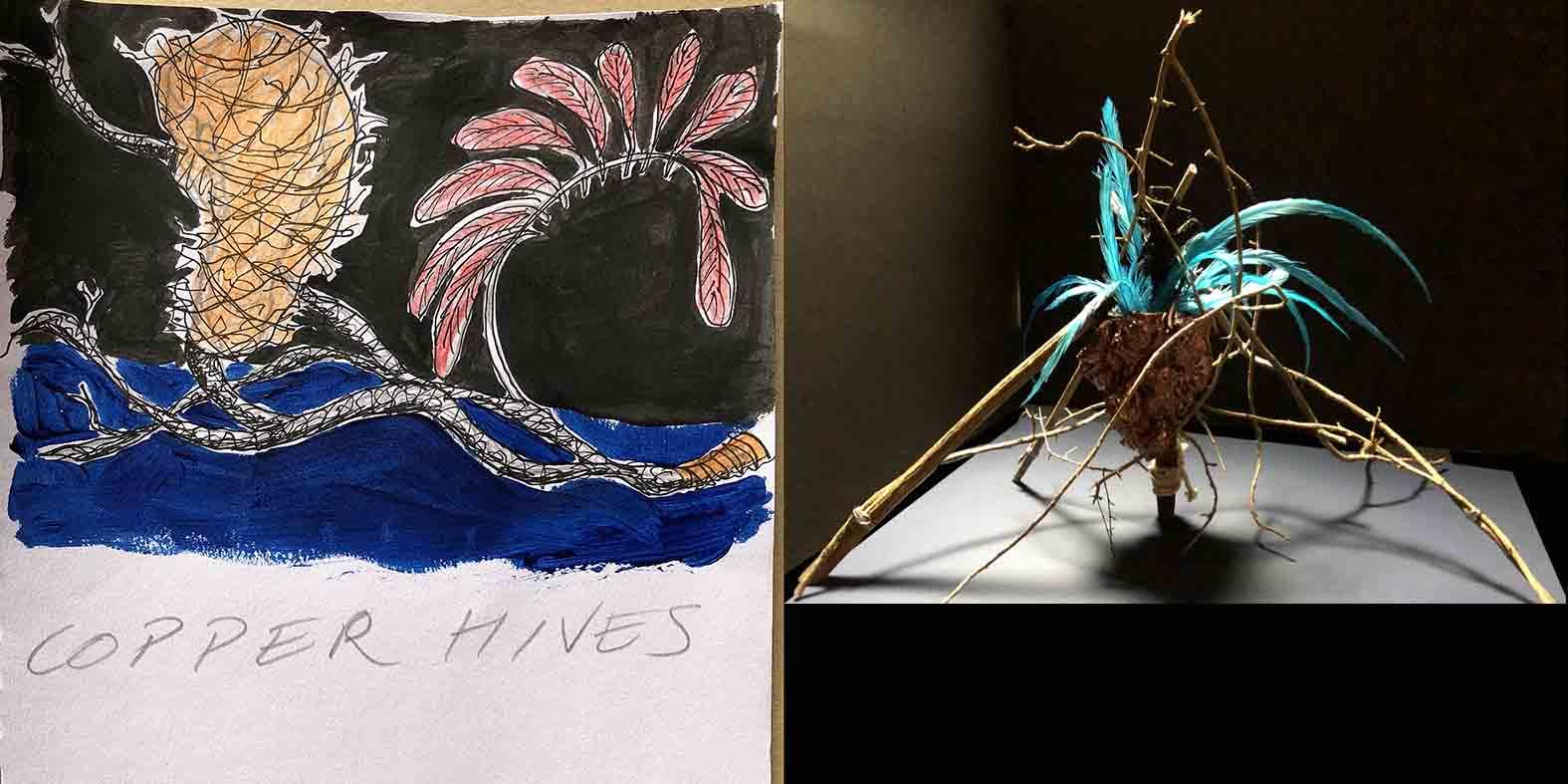 Copper Hive illustration and mock up design
