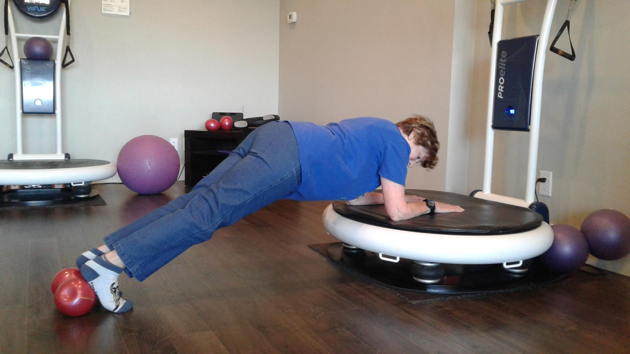 Our client Gerri doing a 1.5 minute plank at 84 years of age!