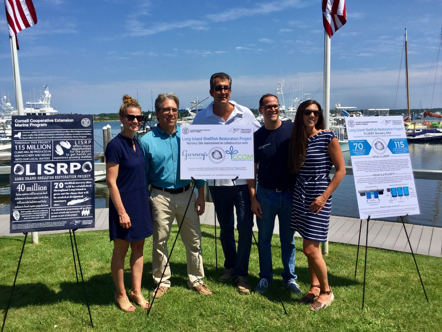 Left Laura Tooman President of Concerned Citizens of Montauk, Christopher Pickerell CCE Marine Programs Director, George Filopoulos President of Gurney's Resorts, Lorne Brousseau CCE Associate Marine Program Director, and Kim Barbour  Marine Program Outreach Manager