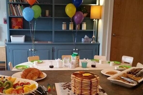Pancakes & Pajamas Birthday Party - Little chefs make pancakes—measuring, mixing, & topping with berries, bananas, maple syrup, and/or chocolate chips!