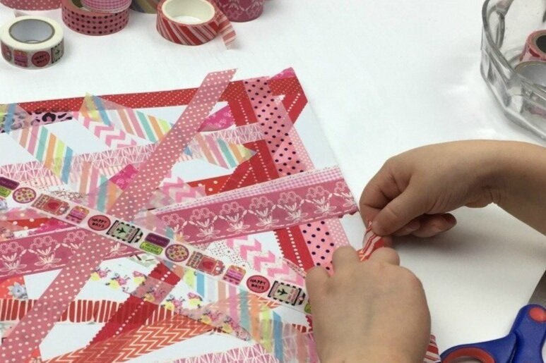 Washi Tape & Watercolors Birthday Party - Using watercolors & natural-fiber sustainable washi tape, little artists create canvas art pieces for home.
