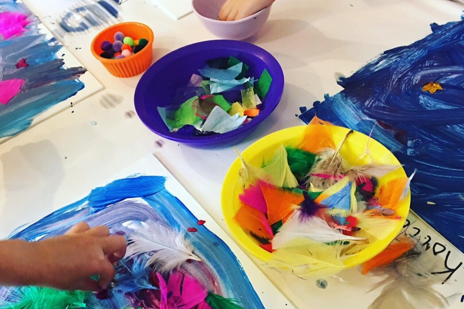 Paint & Collage Birthday Party - Little artists blend painting & collage using unexpected materials, creating richly textured canvas pieces.