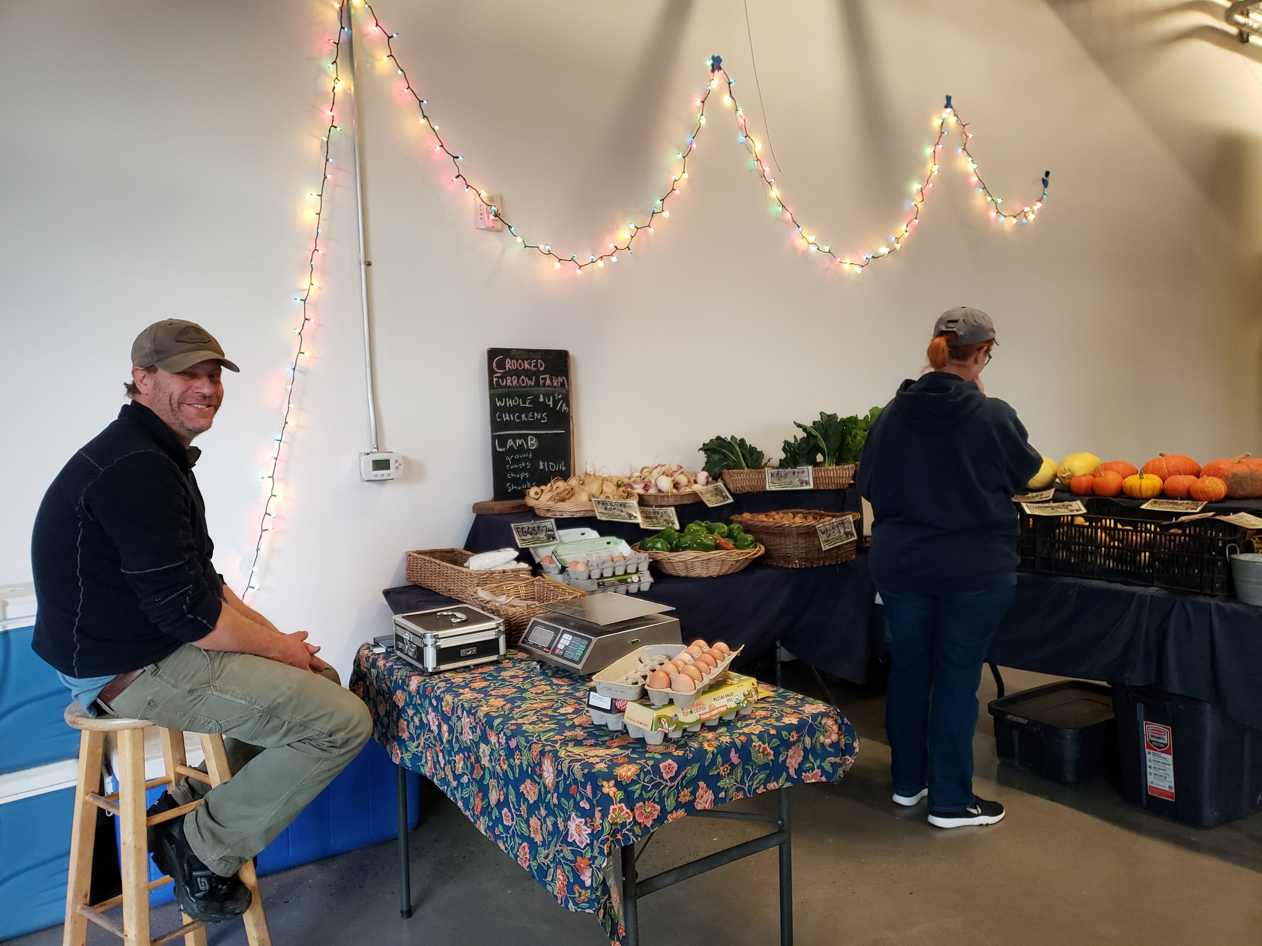 Crooked Furrow Farm had farm fresh eggs, frozen lamb, and plenty of winter veggies!