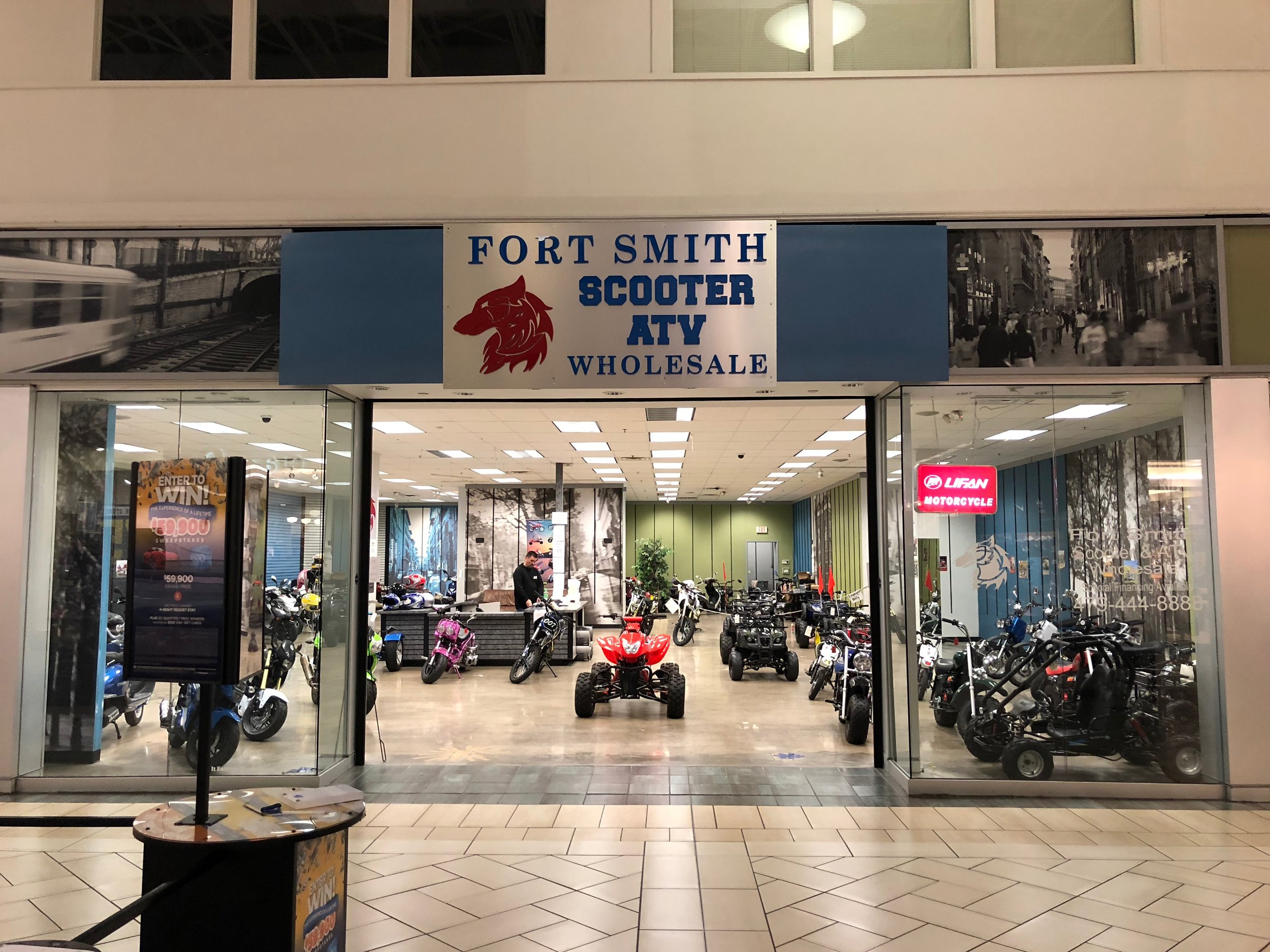 Central Mall. Scooters are big in Arkansas