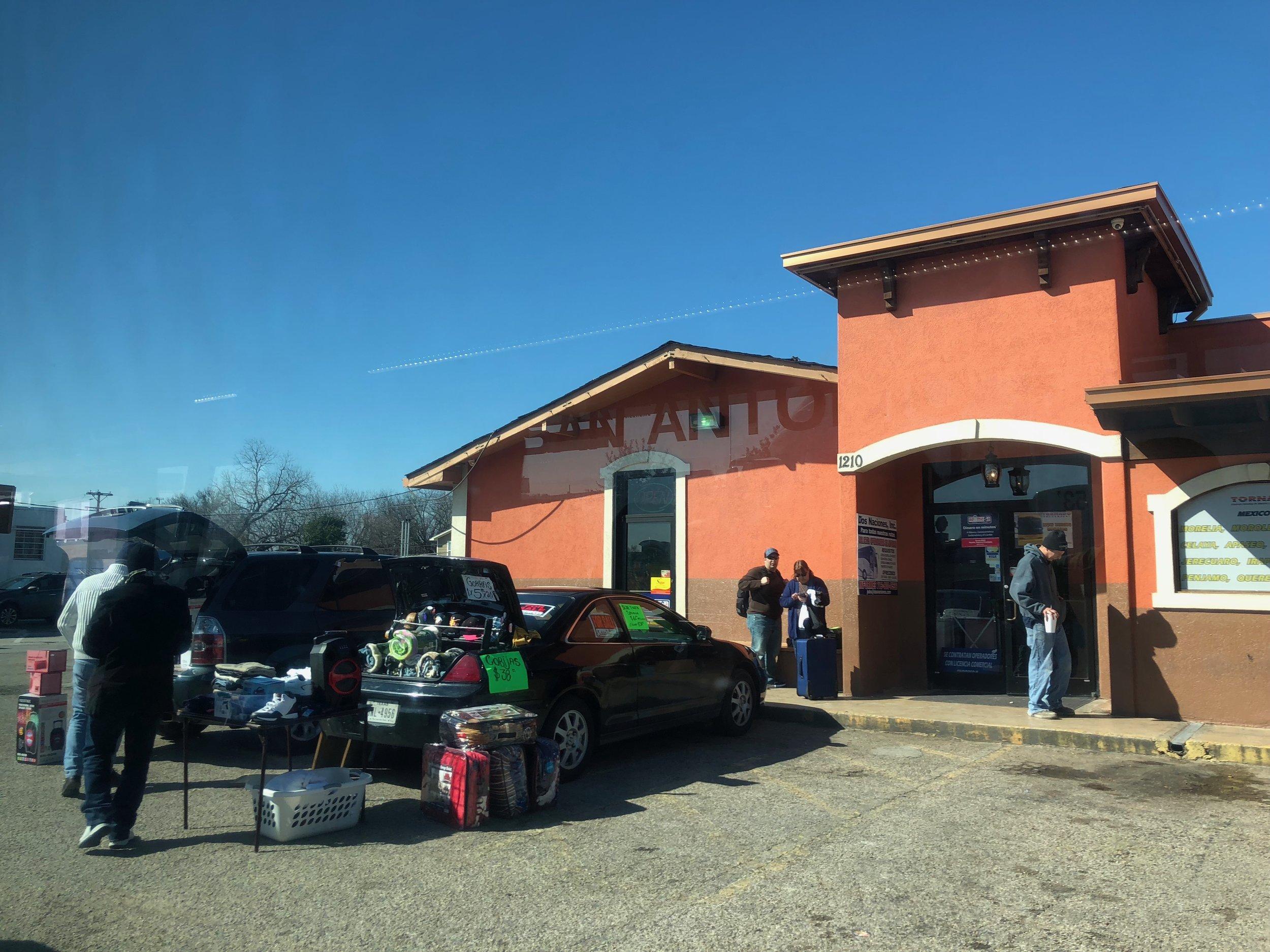 Tornado Bus stop in San Marcos