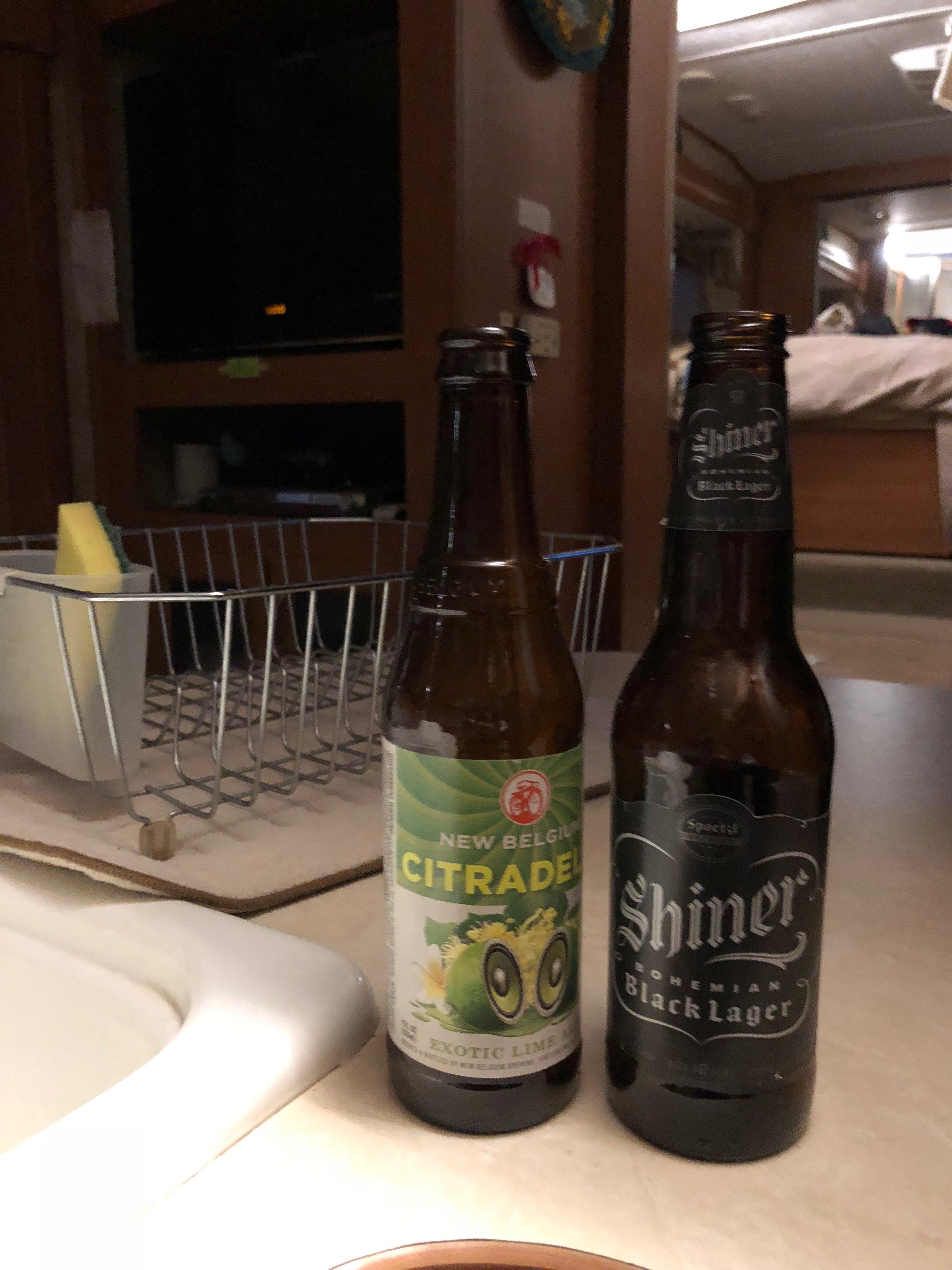 Finishing beer leftovers from the fridge