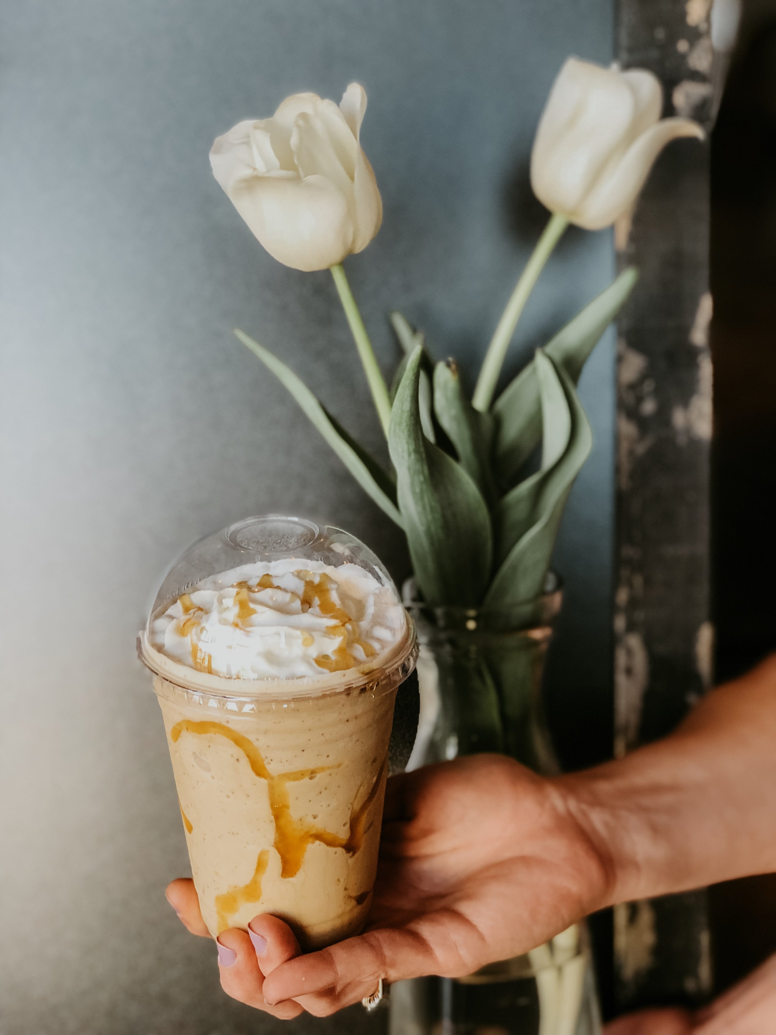 STOP IN AND GET OUR NEW OH, HONEY! FRAP  savory and REFRESHING! made with vanilla bean, lavender and of course.. honey!